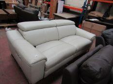 Nicoletti cream leather power recliner sofa, untested.