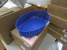 | 1X | HAY PANIER BRIGHT BLUE OVAL METAL BASKET | RRP £45 |LOOKS UNUSED AND BOXED |