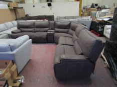 Kuka 5 seater corner reclining sofa, untested and has marks as is in used condition.