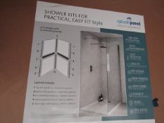 Splash Panel 2 sided shower wall kit in MARBLE MATT, new and boxed, the kit contains 2 1200x1200 top