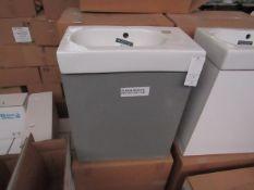 Roca GLOSS GREY cloakroom basin set including; Roca 450mm wall hung base unit with a Roca 450mm