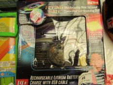 Flying Ball - Rechargeable Lithium Battery Charge With USB Cable - Unused & Boxed.