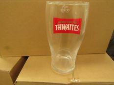 Box of 12 Thwaites Pint Glasses. New & Boxed