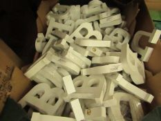 Box of Approx 30+ White Wooden Letters - All Unused & Boxed.