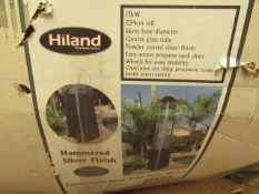 Hiland - Commericial Glass Tube Patio Heater Hammered Silver Finish - Glass Tube Is Missing - Boxed.