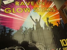 Rave UV Glow Sticks (100 Pieces) - Unchecked & Boxed.