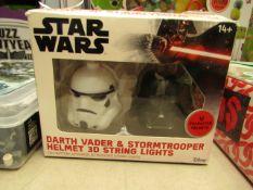 StarWars - Darth Vader & StormTrooper Helmet 3D String Lights - Unchecked & Boxed.