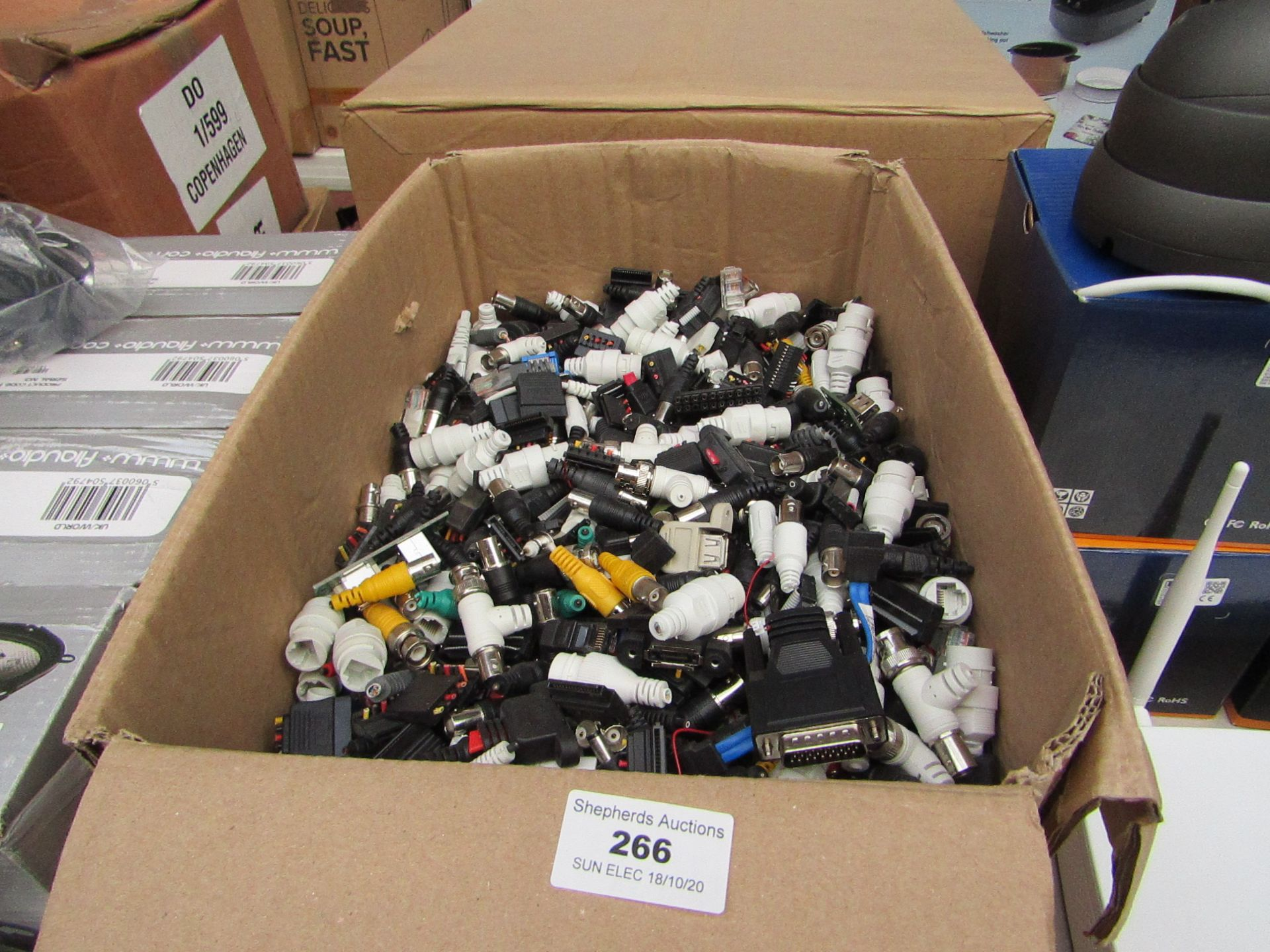 Lot 266 - Large box containing over 100x various power, data transfer and co-axial components. All unchecked.