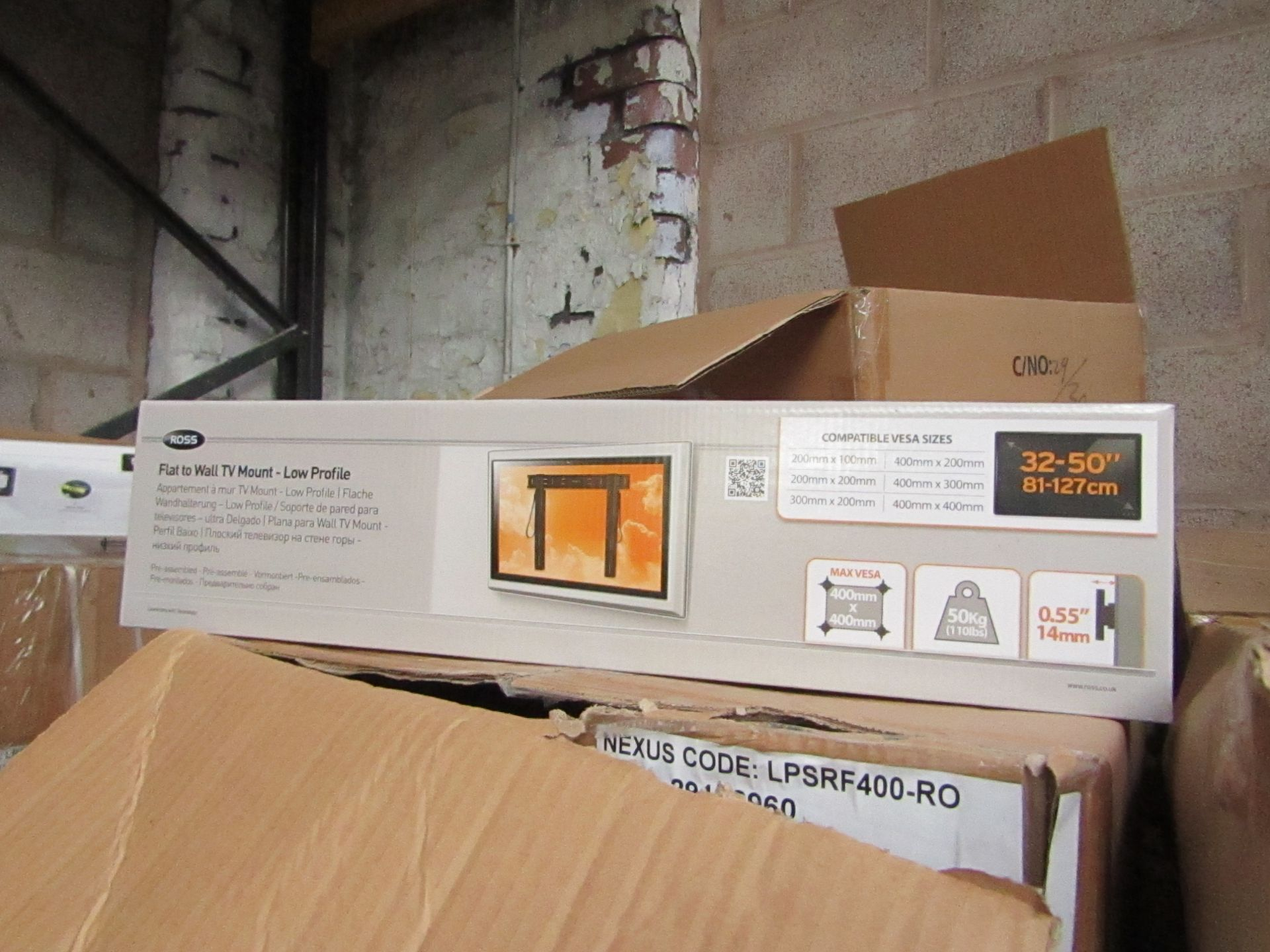 """Lot 188 - Ross - Flat To Wall TV Mount 32 - 50"""" - New & Boxed."""