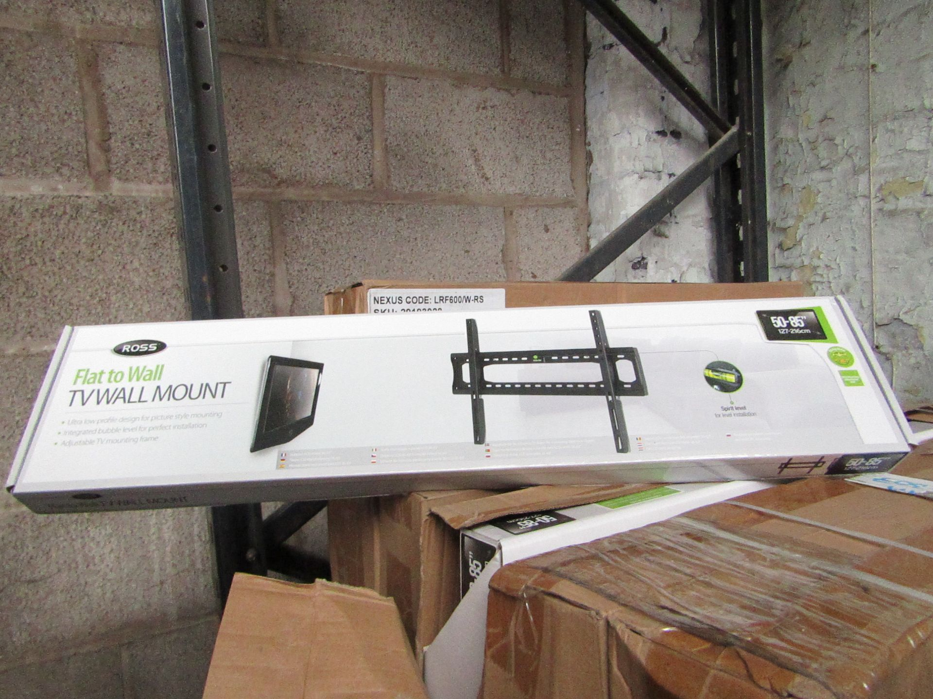 "Lot 182 - 2x Ross - Flat to Wall TV Mount 50 - 85"" - New & Boxed."