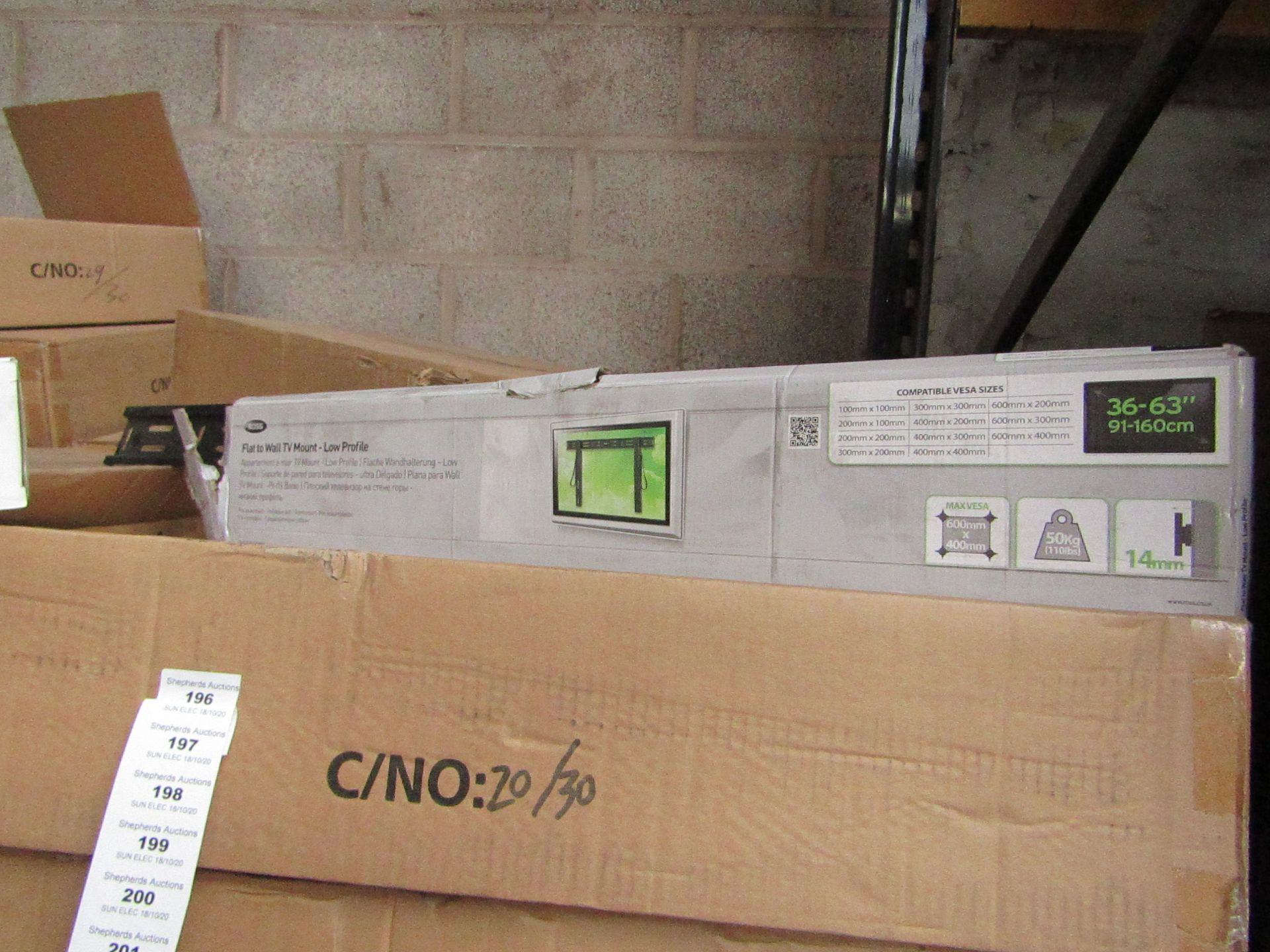 """Lot 196 - Ross - Flat To Wall TV Mount - Low Profile 36 - 63"""" - New & Boxed."""