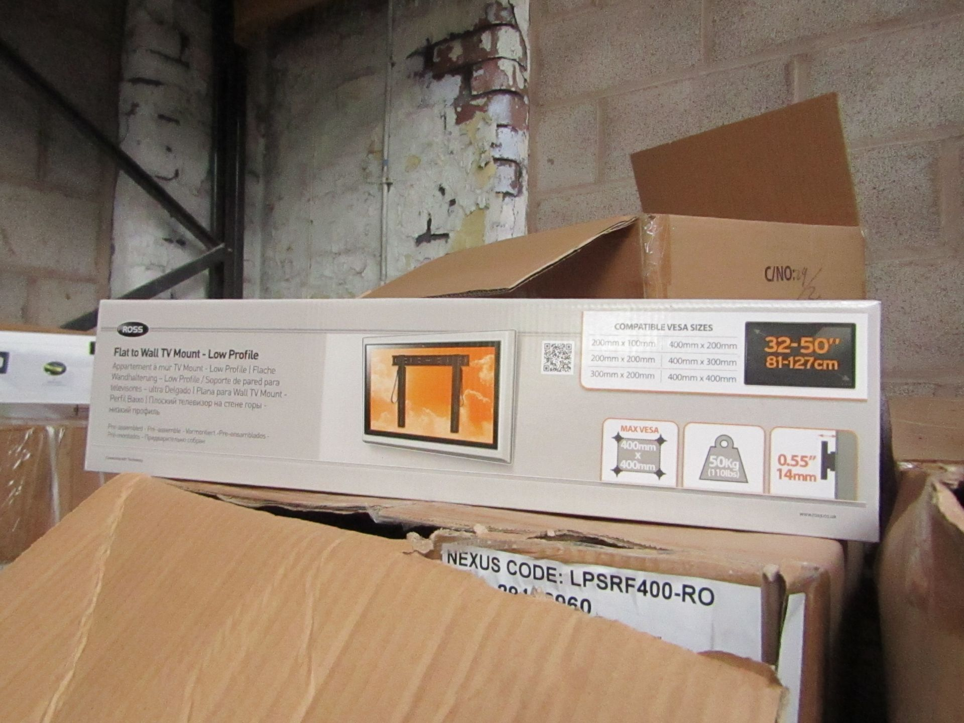 """Lot 187 - Ross - Flat To Wall TV Mount 32 - 50"""" - New & Boxed."""