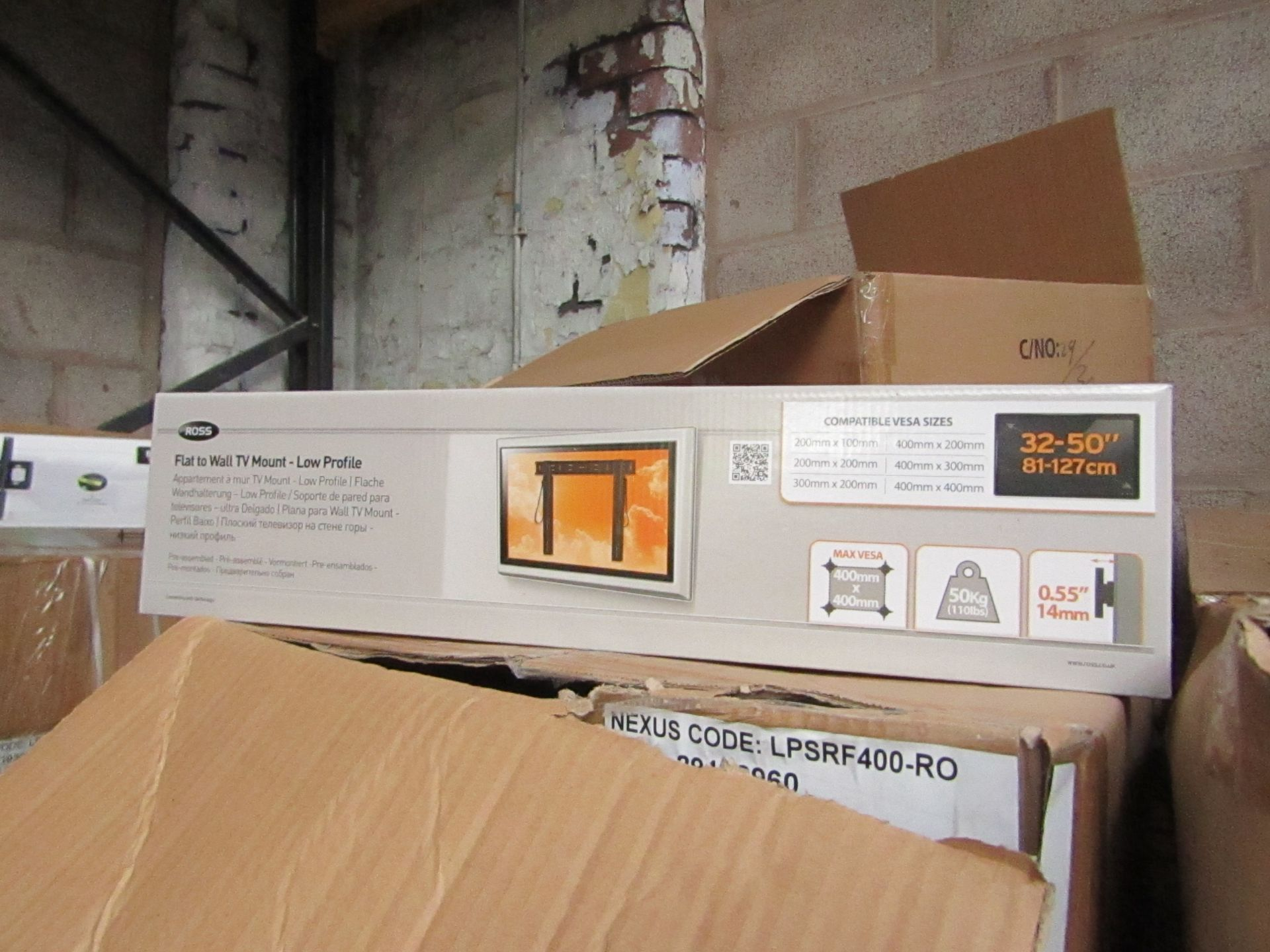 """Lot 185 - Ross - Flat To Wall TV Mount 32 - 50"""" - New & Boxed."""