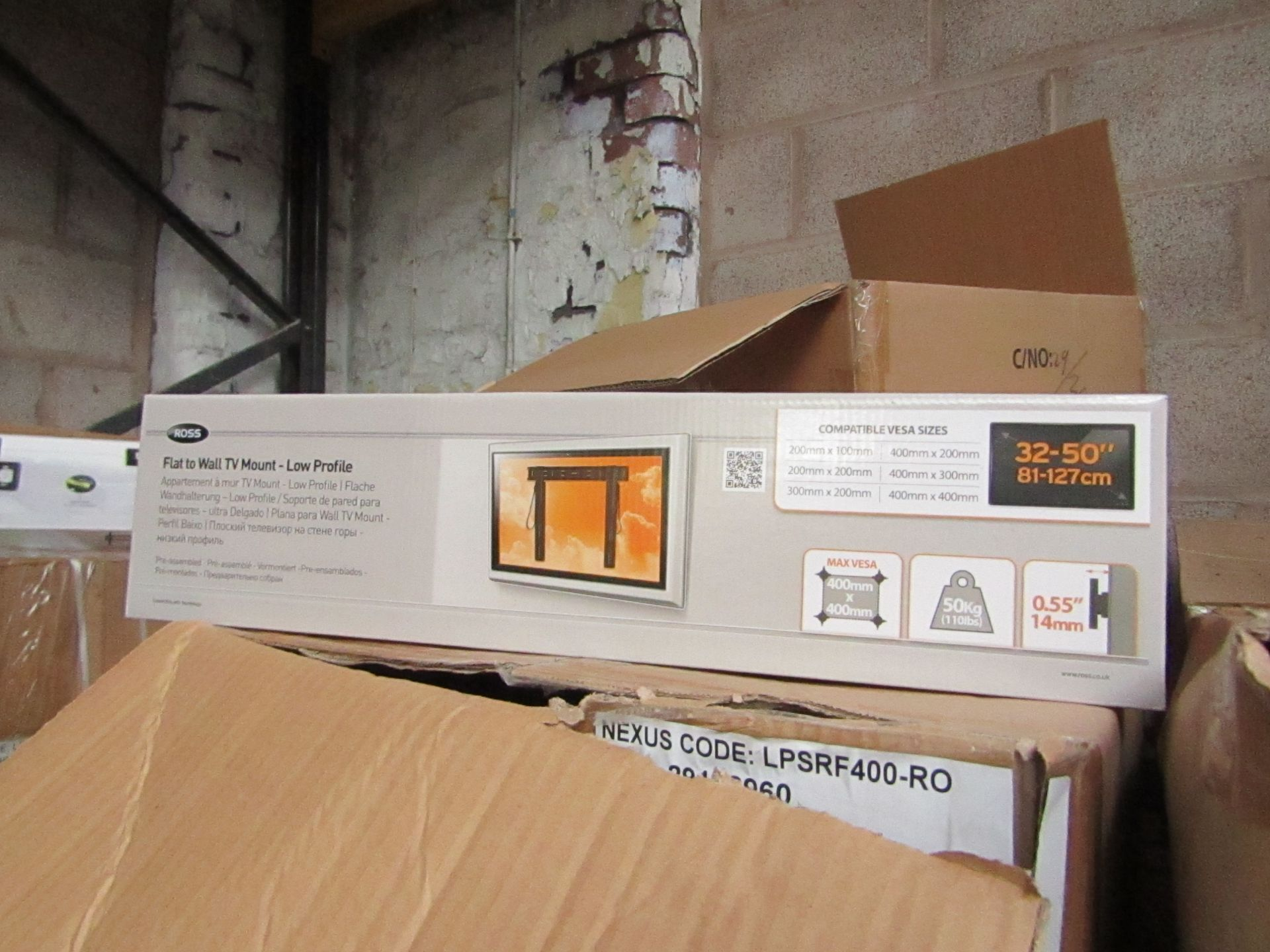 """Lot 186 - Ross - Flat To Wall TV Mount 32 - 50"""" - New & Boxed."""