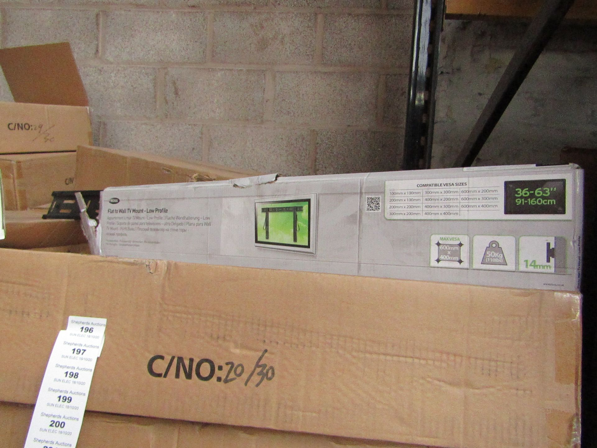 """Lot 197 - Ross - Flat To Wall TV Mount - Low Profile 36 - 63"""" - New & Boxed."""