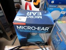 Micro-Ear - Rechargeable Earing Aid - Untested & Boxed.