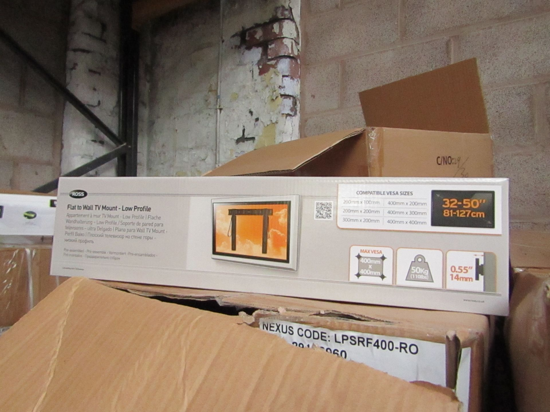 """Lot 189 - Ross - Flat To Wall TV Mount 32 - 50"""" - New & Boxed."""
