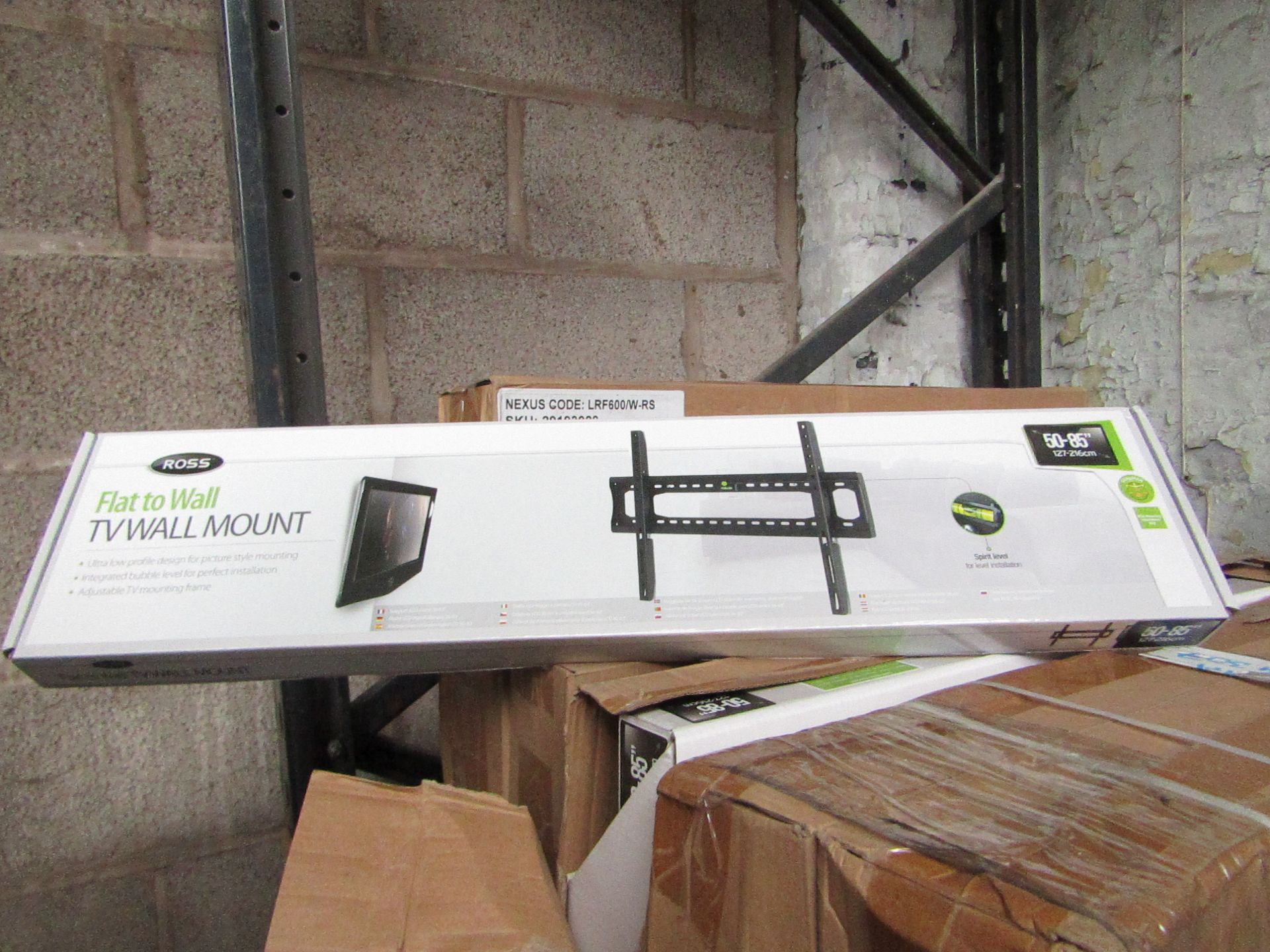 """Lot 180 - 2x Ross - Flat to Wall TV Mount 50 - 85"""" - New & Boxed."""