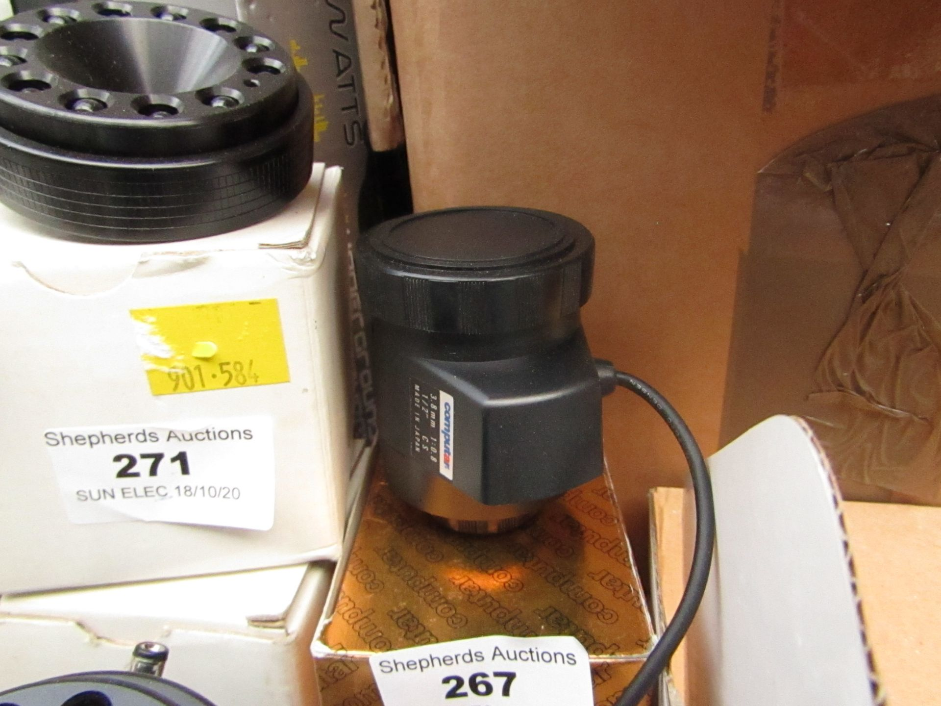 3.8mm CCTV universal lens, unchecked and boxed.