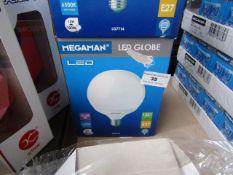 1x Megaman LED globe bulb, new and boxed. 15,000Hrs / E27 / 1521 Lumens