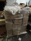 6ft tall pallet of ,mixed non collected auction lots, contains a wide verity of items mostly