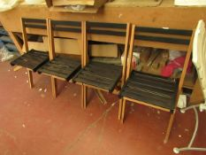 | 4X | COX AND COX FOLD AWAY WOODEN GARDEN CHAIRS | ONE IS BADLY SCRATCHED THE OTHERS HAVE MINOR