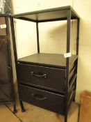 | 1X | COX & COX BLACK TWO DRAWER BEDSIDE CABINET 76 X 42 X 36 CM | RRP £295 | LOOKS UNUSED BUT