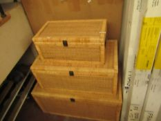 | 1X |COX & COX SET OF 3 CANE STORAGE TRUNKS RRP £425 | LOOKS UNUSED, (THE SMALLEST TRUNK REQUIRES