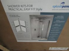 Splash Panel 2 sided shower wall kit in SANDSTONE, new and boxed, the kit contains 2 1200x1200 top
