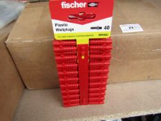 Box of Approx 500+ Fischer - Plastic Wallplugs (Packs of 100) - New & Packaged.