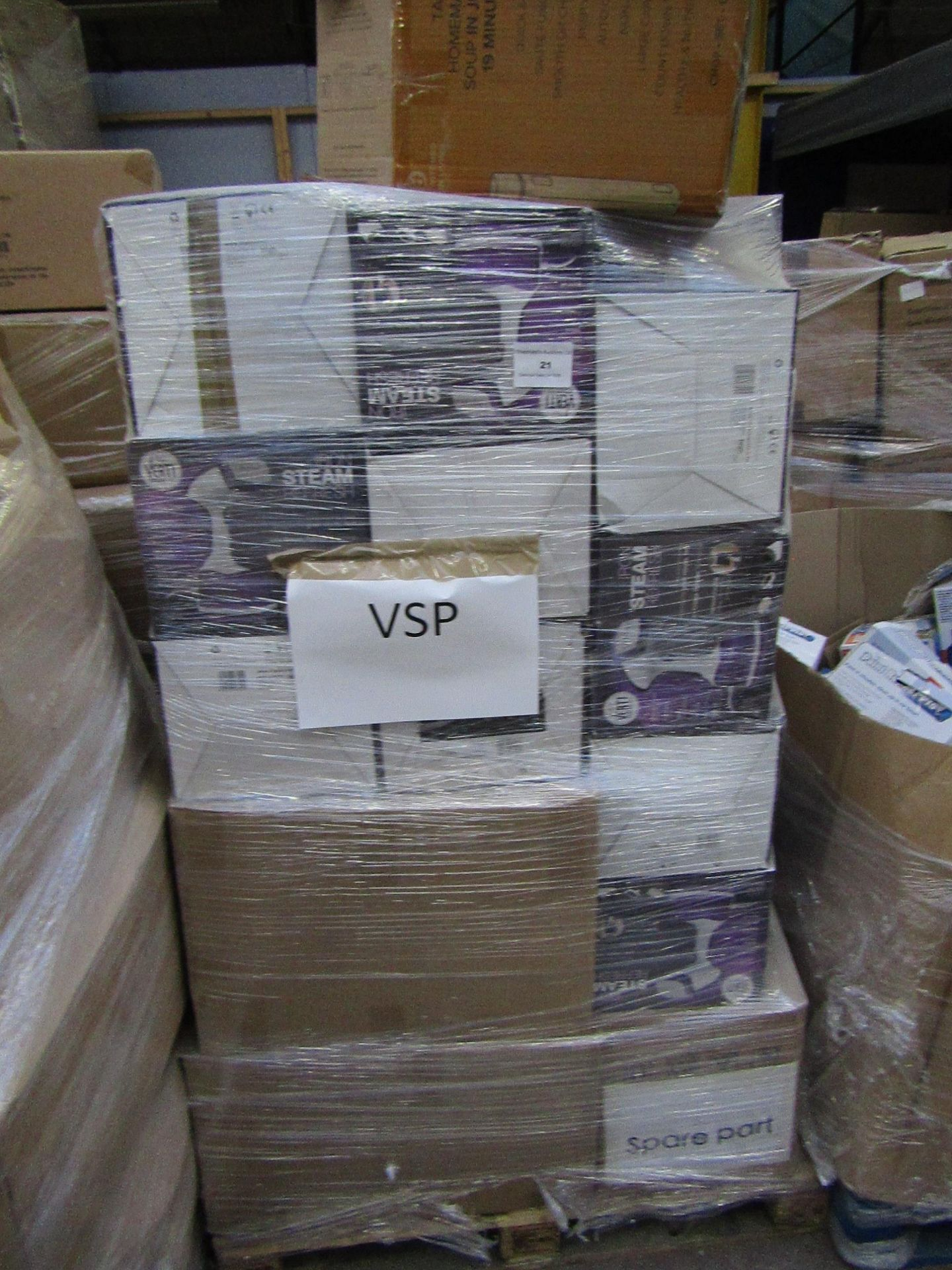 | 1X | PALLET OF APPROX 30 VERTI STEAM PRO'S | UNCHECKED AND BOXED | NO ONLINE RESALE | RRP £43.99 |