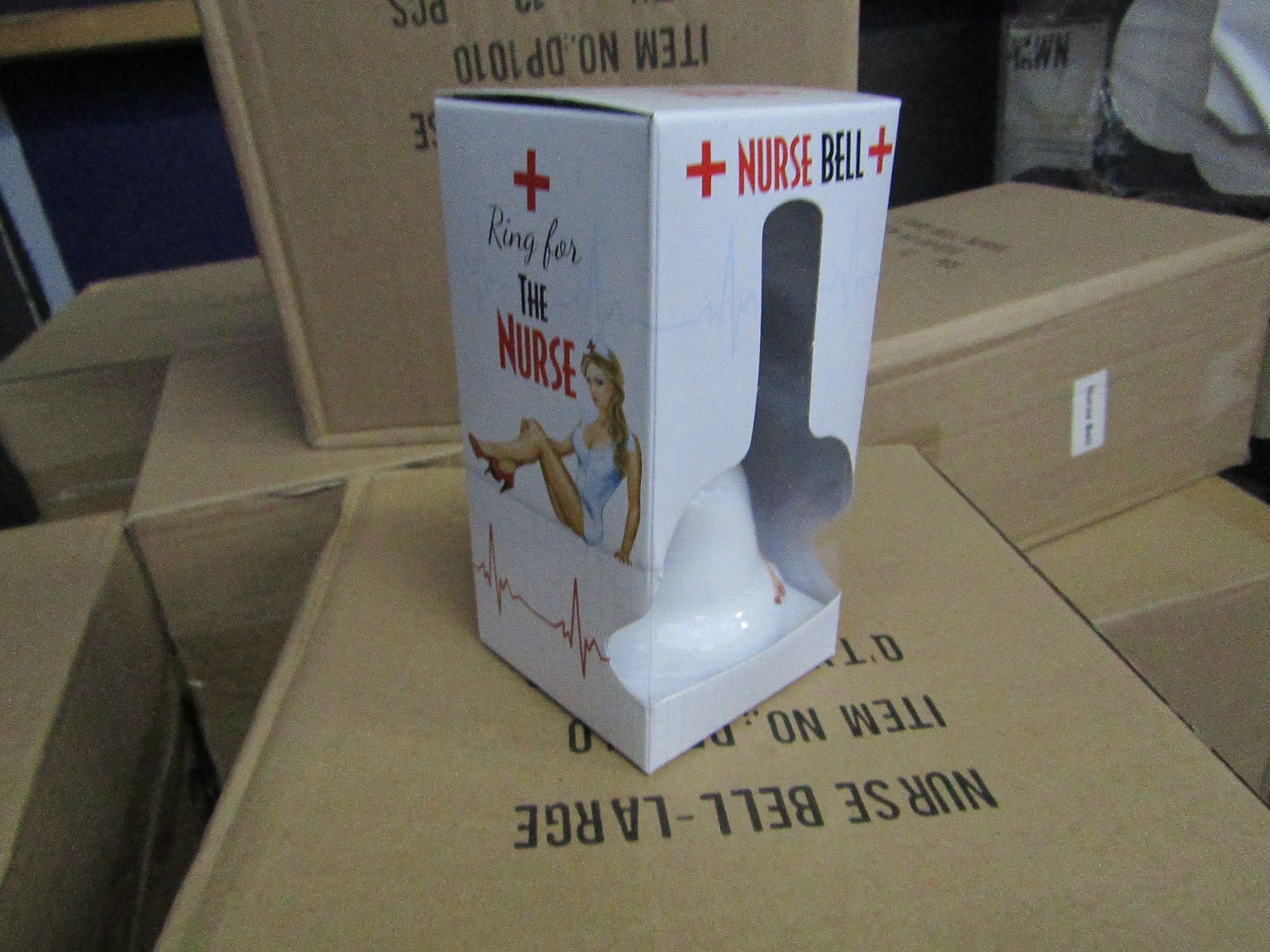 Pallet of approx 480 novelty ring for the nurse bells, new and packaged