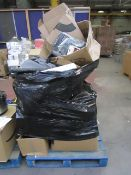 Pallet of uncollected customer orders with items ranging from clothing to electrical.