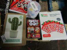 4 Items Being a Sushi Go Card Game (new), Cactus money Box, Magic Cube Ball & an Apple Early