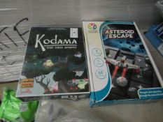2 Items Being Kodama The Tree Spirits Board & Cards game & a Asteroid Escape 1 Player Puzzle Game.