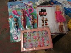 3 Items being Penny doll, Pink Sheep Princess 36 Piece Set & Mermaid Princess Figure Set. All