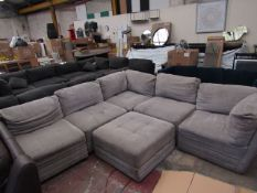 Light Grey M Star Sectional sofa with foot stool, missing legs on one part and needs a very good