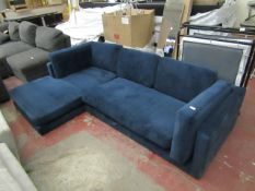 | 1X | SWOON L SHAPED BLUE VELOUR SOFA | NO FEET AND THE FABRIC IS MISISNG FROM THE BOTTOM, OTHER