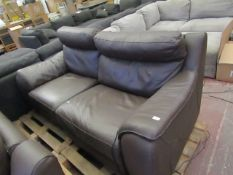 Calia 2 seater electric leather reclining sofa, unchecked