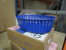 | 1X | HAY PANIER BRIGHT BLUE OVAL METAL BASKET | RRP £45 |LOOKS UNUSED AND BOXED |