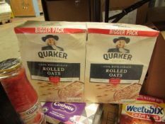 2x Quaker - Rolled Oats 1.5kg - BB - 03/07/21 - Boxed & Packaged.