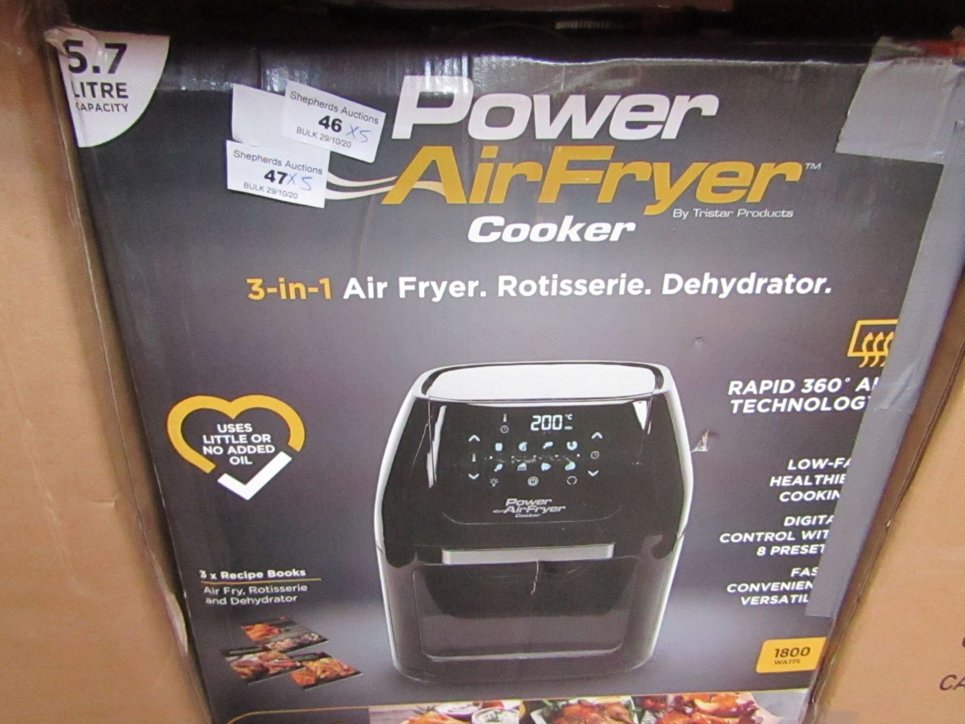   5X   POWER AIR FRYER COOKER 5.7LTR   UNCHECKED AND BOXED   NO ONLINE RE-SALE   SKU C506051510937  