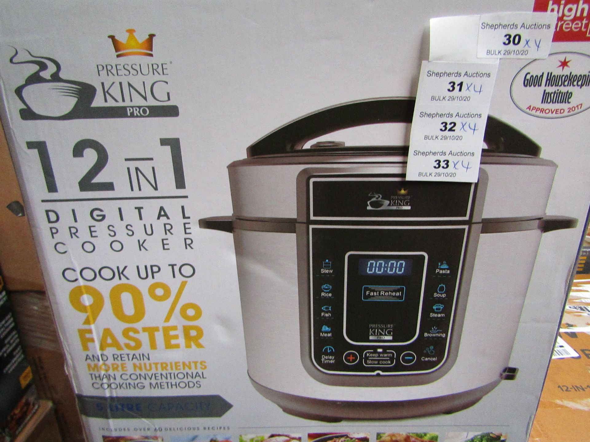 | 4x | PRESSURE KING PRO 20 IN 1 6LTR PRESSURE COOKER | UNCHECKED AND BOXED SOME MAY BE IN NON
