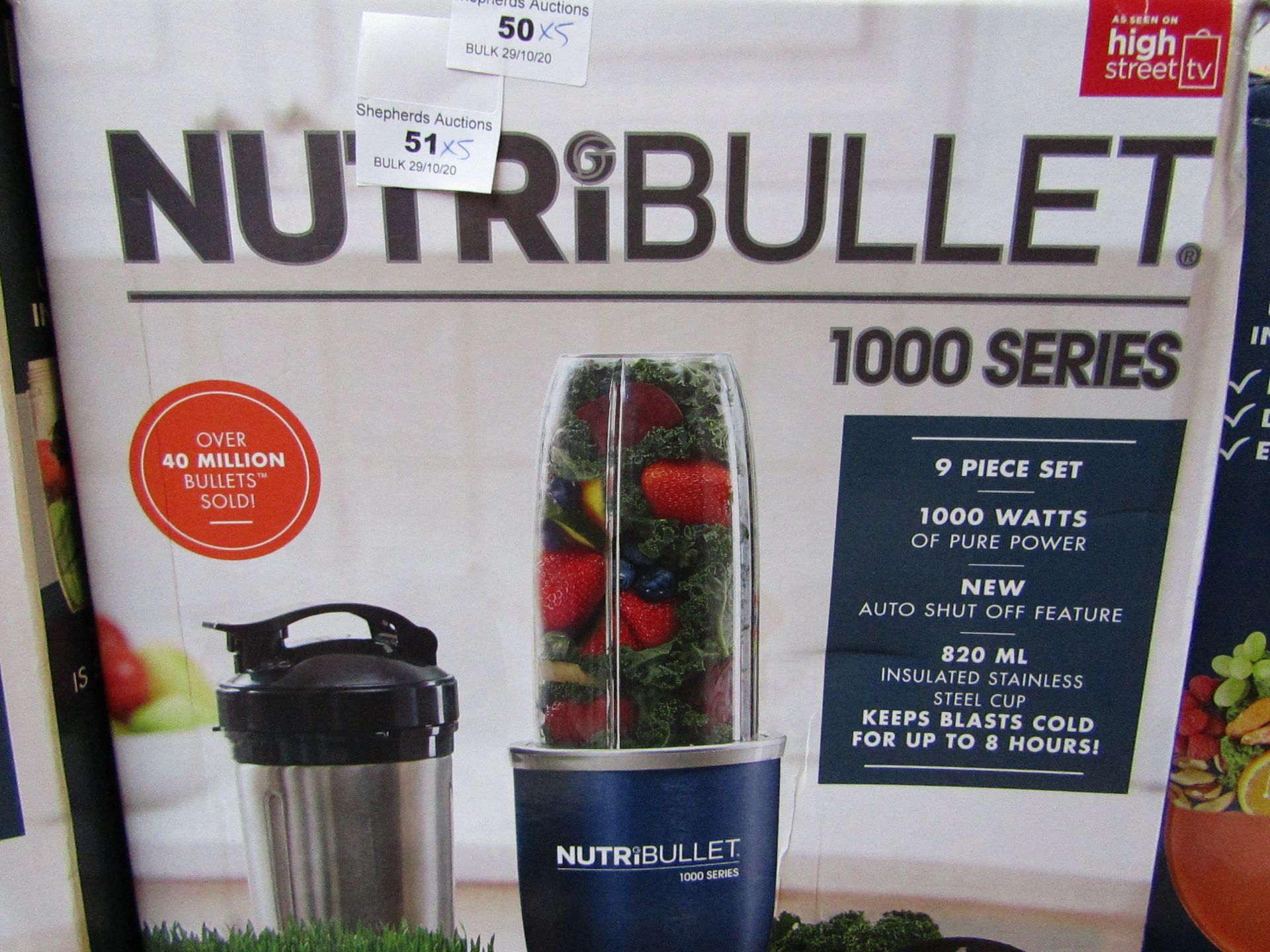   5X   NUTRI BULLET 1000 SERIES   UNCHECKED AND BOXED   NO ONLINE RE SALE   SKU C5060191464734   RRP