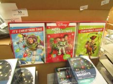 12x Disney - Christmas Cards (3 Designs 18 Cards Per Pack) - New Packaged & Boxed.