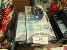 9x Premier - Micro Lights Multi-Action 100 Warm White Lights (Battery Operated) - All Boxed.