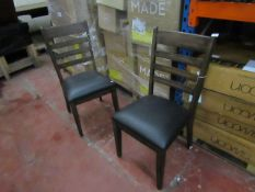 2X Bayside Furnishings Wooden dining chairs, both may have slight marks and scuffs but overall in