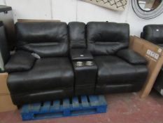 Costco Leather 2 seater electric reclining sofa seat with cup holders and storagecompartment with