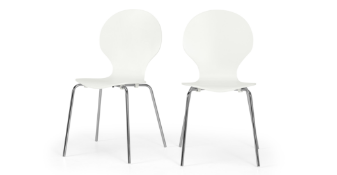 | 1x |MADE.COM SEET OF 2 KITSCH DINING CHAIRS IN WHITE AND CHROME |BOXED AND UNCHECKED | RRP £49 |