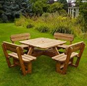 Costco anchor fast 8 person large wood outdoor picnic bench, looks to be complete but not guaranteed